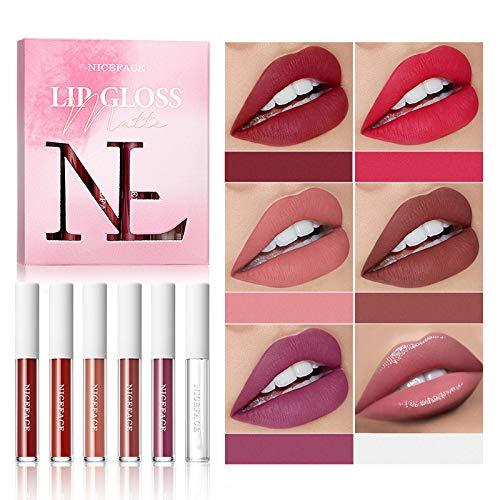 5+1 Matte Liquid Lipstick Lip Makeup Set With Natural Lip Plumper, Professional Long Lasting Waterproof Colourpop Ultra Matte Lip Gloss Set, Lipstick Makeup Gift Set For Women