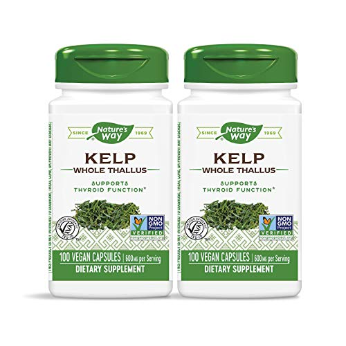 Nature's Way Kelp; 600 mg Non-GMO Project Verified Gluten Free Vegetarian; 100 Count (Pack of 2)