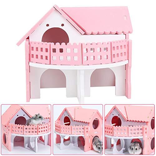 HEEPDD Casa de Madera de Hamster Casa de Dos Pisos con Escalera y balcón Juguetes de Ejercicios Casa de Campo para Ardillas Gerbils Hamsters Golden Bears Pequeños Animales