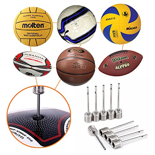 Mobi Lock Ball Pump Needle Pack of 10   Made Stainless Steel   Ideal for Blowing Up Football, Basketball, Soccer, Volleyball, Netball, Handball, Waterpolo Balls and All Other Sports Balls