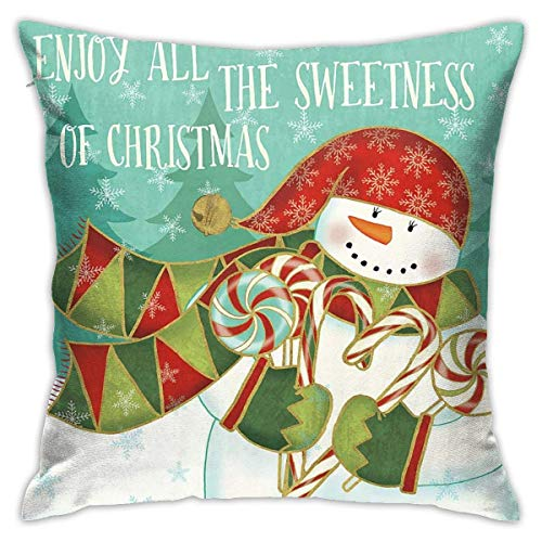 no applicable Christmas Throw Pillow Covers Winter Snowman Home Decorative Pillows for Couch Sofa Bed Breathable Hidden Zipper& Christmas Snowman Candyland