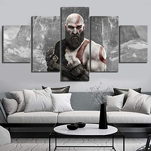 LYFCV Cuadros de Arte de Pared Carteles de Lona 5 Paneles Kratos God of War 4 Juego ARPG Decoración del hogar Pintura HD Impreso Foto 30X40 30X60 30X80 Sin Marco