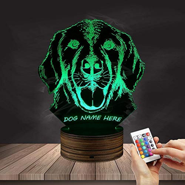 ZHJXQD 3D dekoratives Nachtlicht Labrador Dog 3D Night Light Hundeportrt LED-Licht für optische Tuschung Emotionales Nachtlicht
