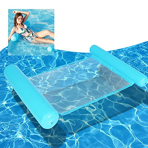 Gxhong Amaca Gonfiabile, 4 in 1 Amaca di Acqua Galleggiante Gonfiabile, Piscina Lounge Materasso ad Aria Amaca Gonfiabile per Piscina per Adulti Bambini (Cielo Blu)