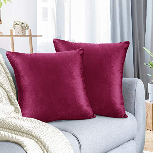 Nestl Throw Pillow Covers, Cozy Velvet Decorative Magenta Pillow Covers 20x20 Inches, Soft Solid Couch Pillow Covers for Sofa, Bed and Car, Set of 2