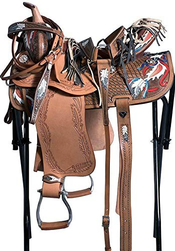 Blue Lake Adult Western Pleasure Trail Barrel Racing Premium Leather TREELESS Horse Saddle Tack| Color: Brown Shades | 17 Inch Seat Available
