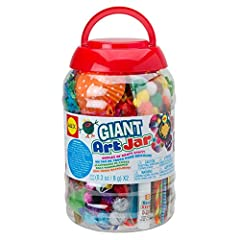 Massive amount of craft supplies in a reusable storage container with a handle Oppenheim toy portfolio gold seal award winner Includes felt shapes, craft sticks, google eyes, buttons, spools, colored and textured papers, glue stick, glitter glue, cra...