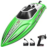 VOLANTEXRC Remote Control Boat for Pool and Lakes 20MPH VectorXS High Speed RC Boat for Kids or Adults Self-righting Remote Controlled Boat with 2 Rechargeable Battery & Reverse Function (795-4 Green)