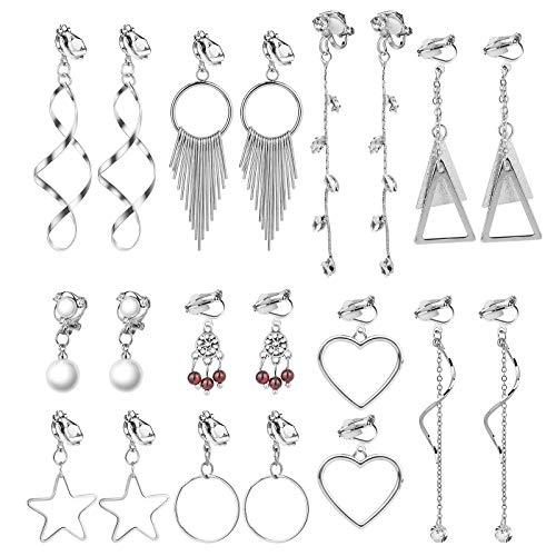 HIFOT clip orecchini donna pendenti 10 paia, orecchini senza buco ragazze orecchini donna lunghi