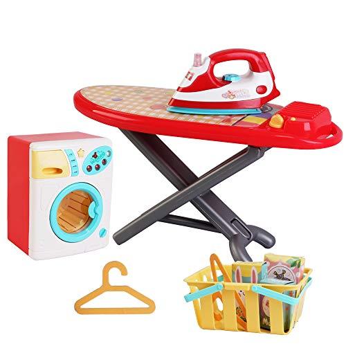 deAO Waschtagsspielset: Spielzeug-Waschmaschine & Bügeleisen mit Sound-und Lichteffekten und viel Zubehör