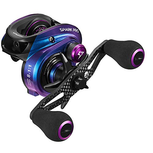 Piscifun Spark Pro Baitcasting Reel - Low Profile 8.1:1 Baitcaster Fishing Reel, Super Compact 16.5 LB Carbon Fiber Drag, 11 + 1 Shielded Ball Bearings Magnetic Brake System(Left Handed)