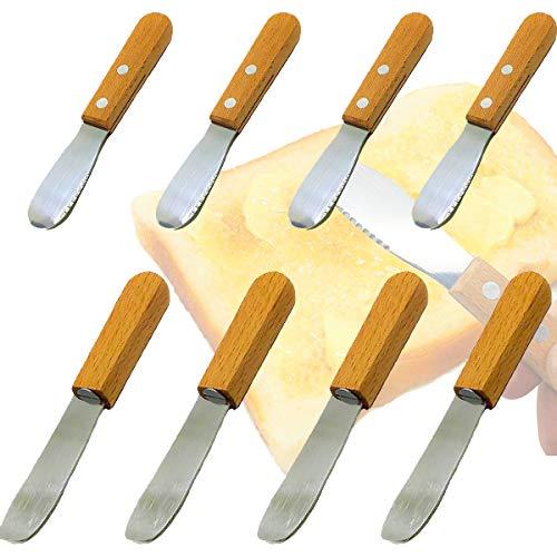 Senteen Cuchillos Mantequilla Acero Inoxidable, 8pcs Esparcidor De Mantequilla Multifunción Butter Knife Mango De Madera Herramientas De Cocina Cuchillos Mantequilla, para Crema Queso