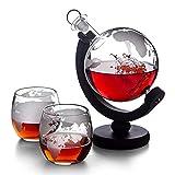 Juego De Botellas De Vidrio De Whisky Globe Decantador Creativo + 2 Copas De Vino con Base De Pino, Dispensador De Vino, Decantador De Copa De Vino, Cóctel, Vino Tinto, Vino, Jugo