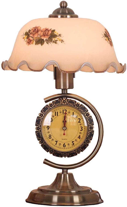 Zhang Ying ZY Retro Clock Tischlampe, Schlafzimmer-Nachttischlampe, klassisches Dimmglas Kreatives Bett-Schlafzimmer-Schreibtisch-Licht, mit Uhr Stummschaltung