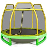 Giantex 7 Ft Kids Trampoline w/Safety Enclosure Net, Spring Pad, Zipper, Heavy Duty Steel Frame, Mini Trampoline for Indoor/Outdoor, Supports up to 220 Pounds, Great Gifts for Kids (Yellow)