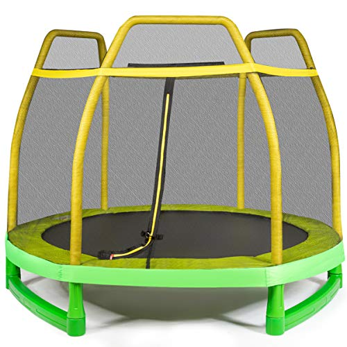 Giantex 7 Ft Kids Trampoline w/Safety Enclosure Net, Spring Pad, Zipper, Heavy Duty Steel Frame, Mini Trampoline for Indoor/Outdoor, Supports up to 220 Pounds, Great Gifts for Kids
