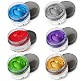 6 Colors Hair Color Wax - 6 in 1 Sliver Blue Purple Gold Green Pink Red, Temporary Hair Color for Party, Cosplay, Date, Halloween