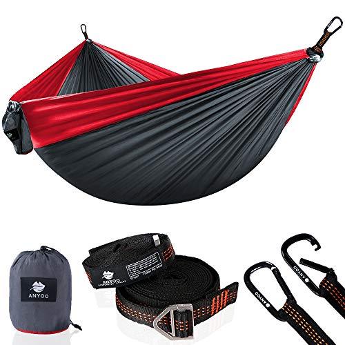 Anyoo Camping Double Hammock Leggero Amaca Portatile in Nylon con Paracadute e Cinghie per Alberi per Escursioni in Montagna
