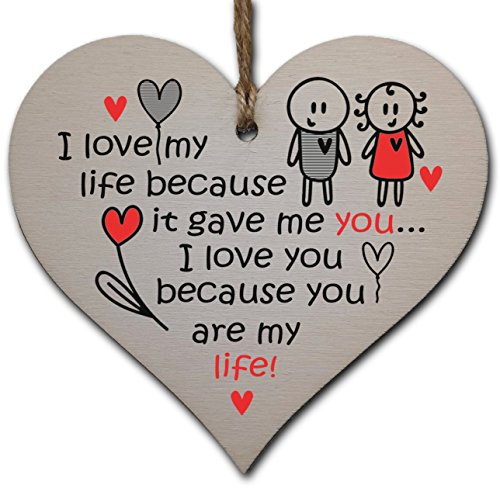 Handmade Wooden Hanging Heart Plaque Gift perfect for your Boyfriend or Girlfriend...