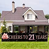 Kauayurk 21st Birthday Banner Party Decorations Supplies for Women, Rose Gold Cheers to 21 Years Birthday Party Sign Decorations, Happy 21 Year Old Birthday Decor Backdrop (9.8x1.6ft)