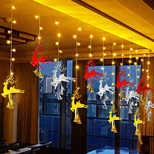 Uping LED Lichtervorhang 150 Leds Lichterkette Weihnachts Rentier Licht Vorhang Licht 30 Rentier Dekoration 8 Beleuchtungsmodi mit Speicher Weihnachtsdekoration Hochzeit Partydekoration (Warmweiß)