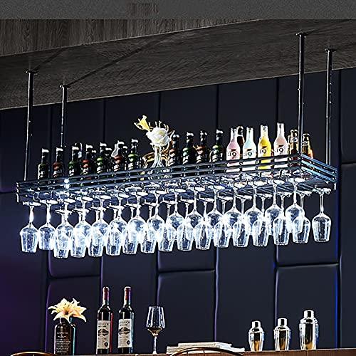 QXSLLONS Estante para colgar en el techo, estilo europeo loft para botellas de vino, estante para copas de vino, estante para barras (color negro, tamaño: 100 x 35 cm)