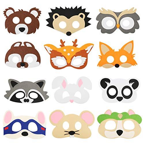 MEZOOM 12Pcs Kinder Tiermasken Set, Filz Masken Süßes Tier Augenmaske Cosplay Masken mit Elastischen Seil für Halloween Kindergeburtstag Karneval Weihnachten Themenparty