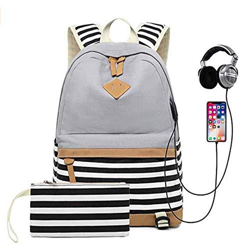 Juego de bolsas escolares para niñas, estuche para adolescentes con patrón moderno de rayas y auriculares USB puerto de carga portátil para adolescentes, color Gris, talla Talla única