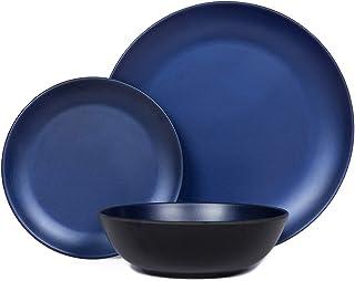 مجموعة أدوات مائدة من الميلامين - طقم أطباق وأطباق للاستخدام الداخلي والخارجي، آمن للاستخدام في غسالة الأطباق، مقاوم للكسر...