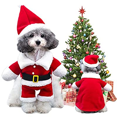Christmas Pet Clothes Dog Cat Christmas Costume Santa Claus Hat Scarf Cosplay Dressing up Xmas Party Fashion New Year Clothing Accessories for Small Pet Cat Dog (S)