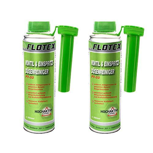 Flotex Ventil & Einspritzdüsenreiniger, 2 x 250ml Additiv entfernt Ablagerungen und reinigt Benzin Einspritzsystem