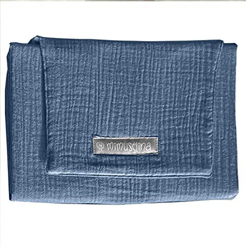MIMUSELINA Cambiador de Paseo bebé | Cambiador Portátil Bebé, Impermeable, Anti calado, plegable. Cambiador de Pañales 47 x 67 cm (Muselina azul)