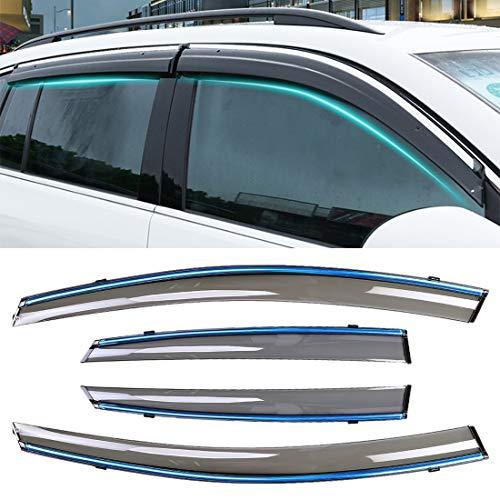 WXX 4 PCS Ventana soleada Lluvia Viseras toldos Sunny Rain Guard for Ford Fiesta 2010-2018 versión sedán