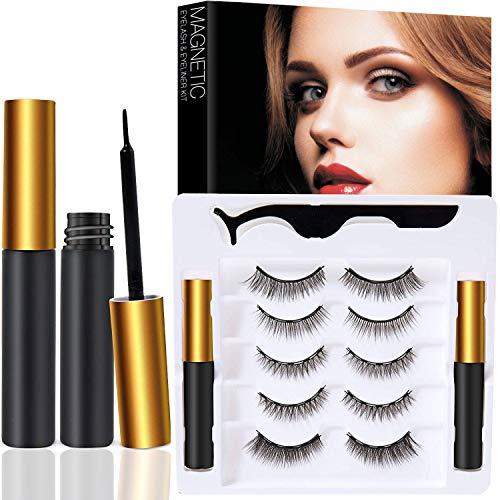 Magnetic Eyeliner and Lashes Reusable 5D Magnetic Eyelashes Kit False Lashes 5 pairs with Tweezers