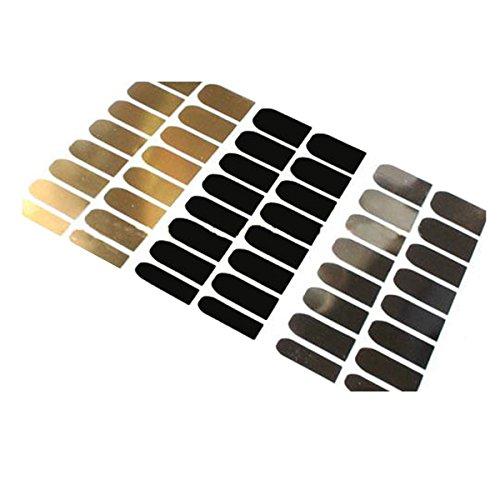 ZUMUii Butterme 3 Feuilles Nail Art Autocollants Nail Art Sticker Or Argent Noir Nail Wrap Nail Patch