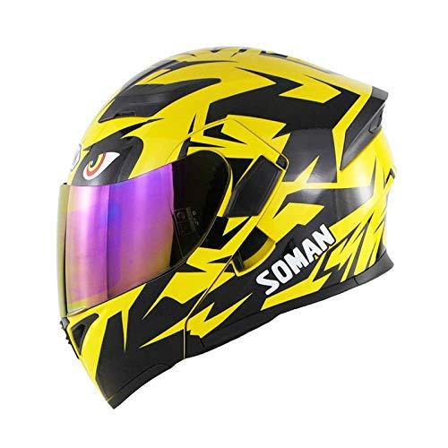 LSUOR Casco da Motociclista Open Face Full, Yellow Modular Doppia Visiera da Sole Casco Scooter Flip up Front DOT Certificato