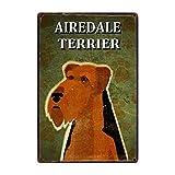 Cartel de metal con diseño de perros Airedale Terrier para decoración de pared, decoración para el hogar, estilo vintage, nostálgico, dimensiones 20 x 30 cm
