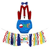 MYRISAM Ofishally One Baby 1st Birthday Cake Smash Outfits Decorations Kit Highchair Banner Diaper Cover Suspenders Bowtie