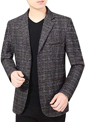 Biooarc Men Plaid Tailored Fit Oversized Single Breasted Blazer Outerwear