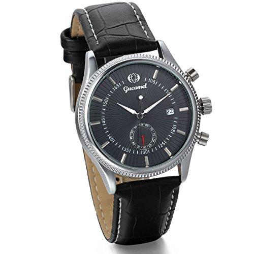 JewelryWe Herren Armbanduhr, Klassiker Business Casual Kalender mechanische Mechanik Uhr mit Leder Armband, Schwarz