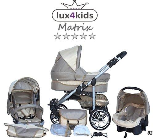 Chilly Kids Matrix II kinderwagen & kinderstoel Zomerset (parasol, autostoel, regenjas, muskietennet, zwenkwielen) 02 Beige & Crème