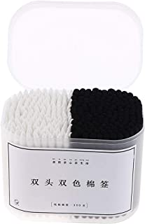 segolike 1 Box 7.5cm Cotton Sticks Cosmetic Q Tips Cotton Buds Swabs for Apply Clean - White Black, 75 x 6mm