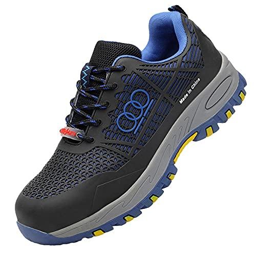Punta de Acero Zapatillas de Seguridad Ligero,Ligeras con Puntera de Acero Zapatos de Trabajo Zapatillas de Seguridad Antideslizante Unisex,Blue▁38