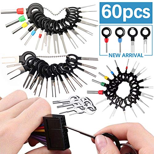 Connector Pin Remover Kit Crimp Wiring Cable Electric Car 19 Pcs Terminals Removal Tools with Chrome Handle