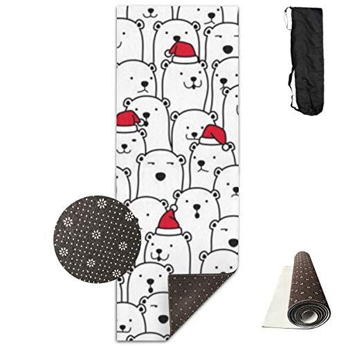 Bär Nahtloses Muster Vektor Eisbär Weihnachten Weihnachtsmann Weihnachtsmütze Yogamatte mit Yoga Mesh Bag Leichte Reisematte für Yoga Pilates Gleichgewichtsübungen Stretching Fitness 71×24 Zoll