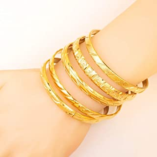 LIShuai Fashion Dubai Gold Bangle & Bracelets 18K Gold Plated Women Decoration Bangle African Ethiopian Jewelry 5 Styles Mixed for Sale B023A