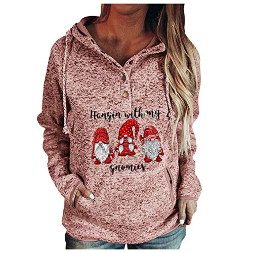 kangma Women Buttons Collar Christmas Hooded Sweatshirt Pullover Pockets Drawstring Top Pink