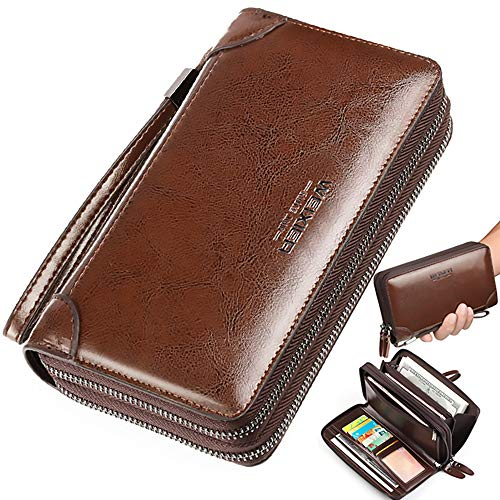 Black Sale Friday Deals Large Wallet Clutch Long Leather Cellphone Purse Travel Business Hand Clutch Bag Cell Phone Holster Creit Card Holder Case Gift for Men Son Father Husband Boyfriend