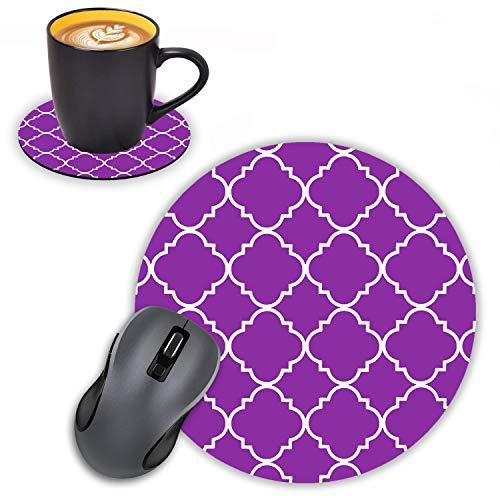 Log Zog Round Mouse Pad with Coasters Set, Purple Mint Quatrefoil Design Mouse Pad Non-Slip Rubber Mousepad Office Accessories Desk Decor Mouse Pads for Computers Laptop