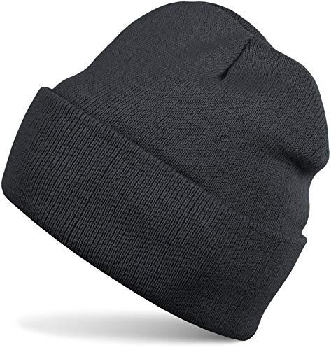 styleBREAKER Klassische Beanie Strickmütze, warme Feinstrick Mütze doppelt gestrickt, Unisex 04024029, Farbe:Dunkelgrau